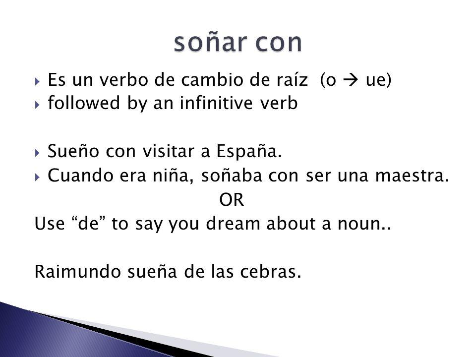 soñar con Es un verbo de cambio de raíz (o  ue)