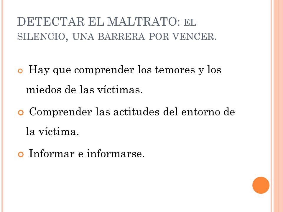 DETECTAR EL MALTRATO: el silencio, una barrera por vencer.