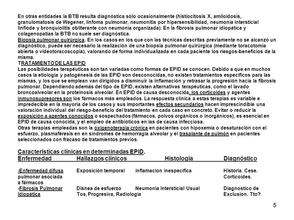 En otras entidades la BTB resulta diagnóstica sólo ocasionalmente (histiocitosis X, amiloidosis, granulomatosis de Wegener, linfoma pulmonar, neumonitis por hipersensibilidad, neumonía intersticial linfiode y bronquiolitis obliterante con neumonía organizada).