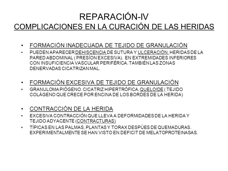 REPARACIÓN-IV COMPLICACIONES EN LA CURACIÓN DE LAS HERIDAS