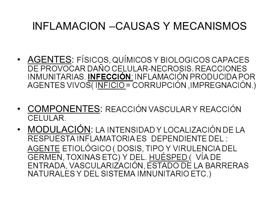 INFLAMACION –CAUSAS Y MECANISMOS
