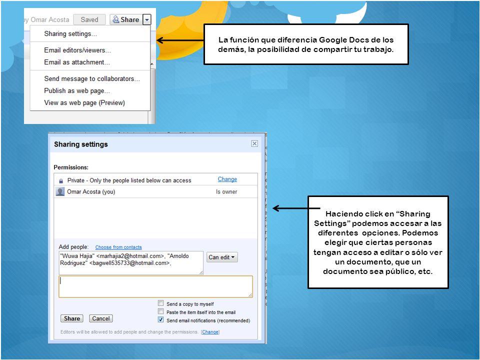 La función que diferencia Google Docs de los demás, la posibilidad de compartir tu trabajo.