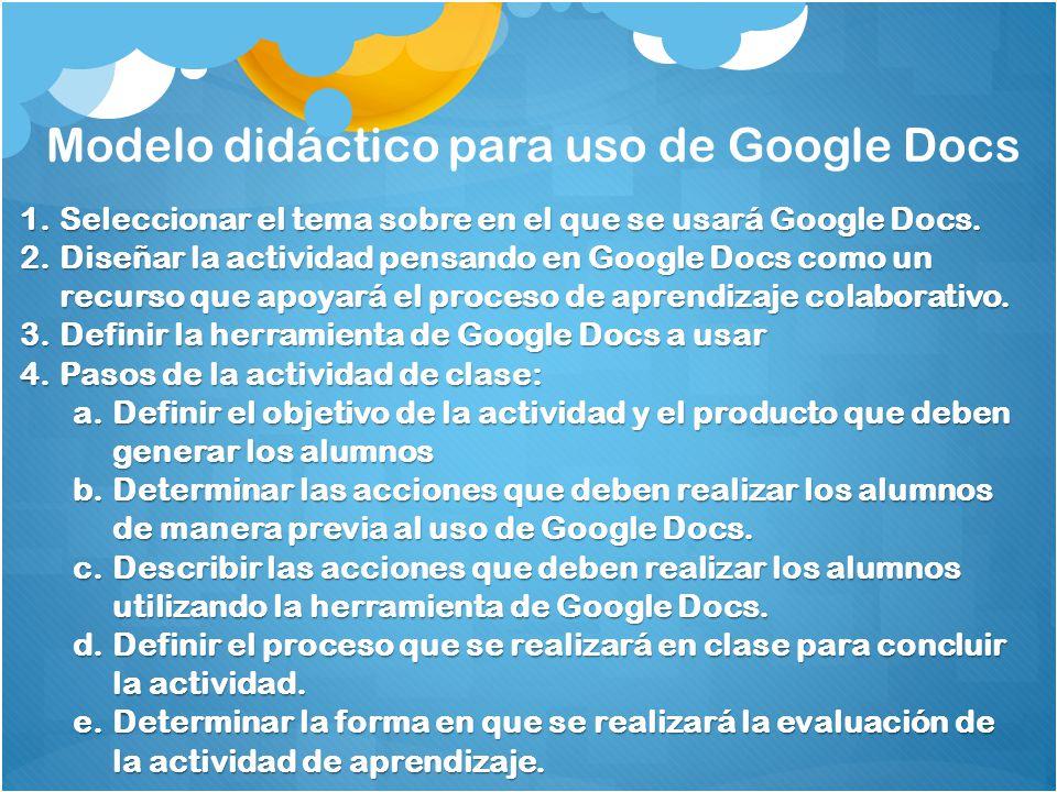 Modelo didáctico para uso de Google Docs