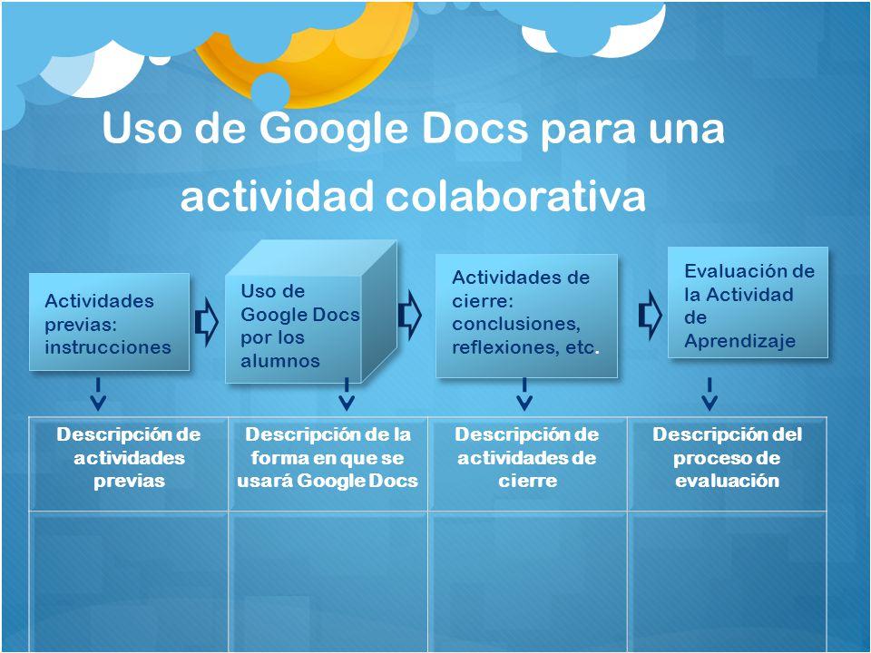 Uso de Google Docs para una actividad colaborativa