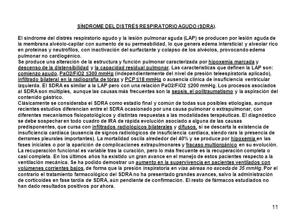 SÍNDROME DEL DISTRÉS RESPIRATORIO AGUDO (SDRA)