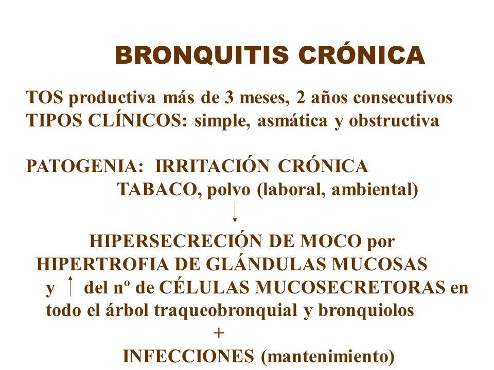 BRONQUITIS CRÓNICA TOS productiva más de 3 meses, 2 años consecutivos