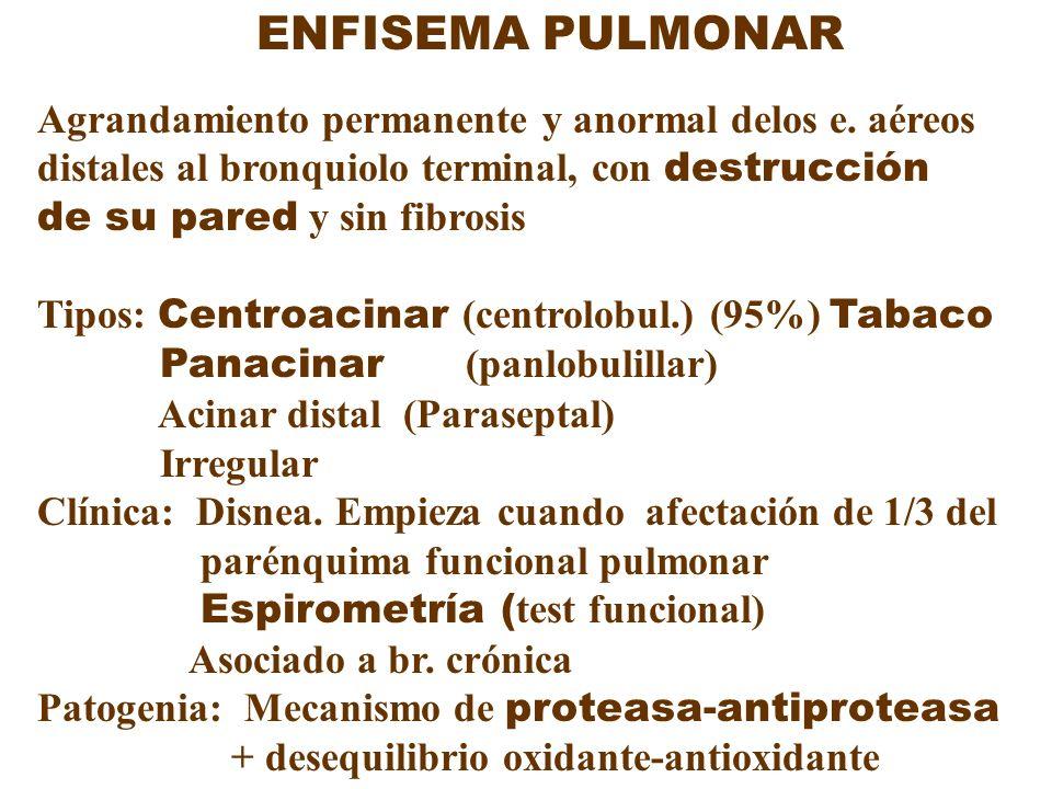 ENFISEMA PULMONAR Agrandamiento permanente y anormal delos e. aéreos