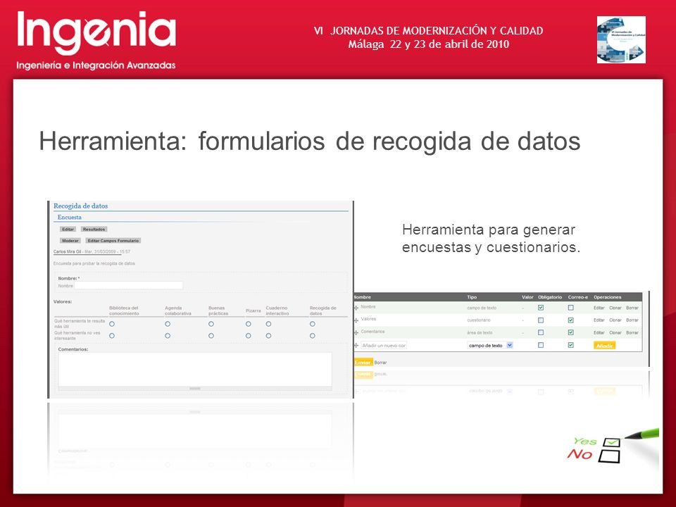 Herramienta: formularios de recogida de datos