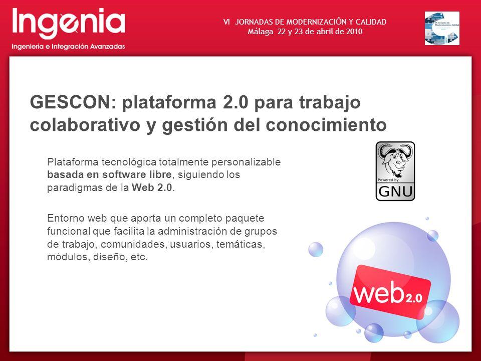 GESCON: plataforma 2.0 para trabajo colaborativo y gestión del conocimiento