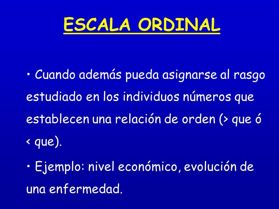 ESCALA ORDINAL Cuando además pueda asignarse al rasgo estudiado en los individuos números que establecen una relación de orden (> que ó < que).