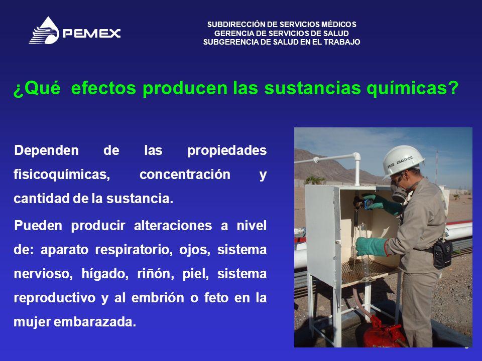 ¿Qué efectos producen las sustancias químicas