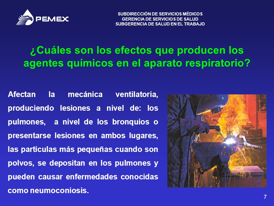 ¿Cuáles son los efectos que producen los agentes químicos en el aparato respiratorio