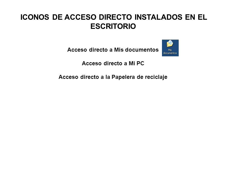 ICONOS DE ACCESO DIRECTO INSTALADOS EN EL ESCRITORIO