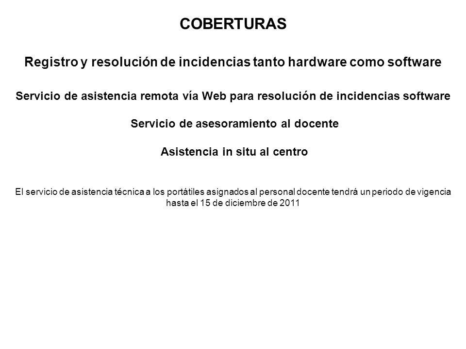 COBERTURASRegistro y resolución de incidencias tanto hardware como software.