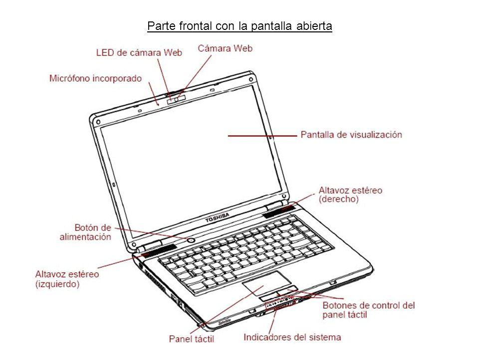Parte frontal con la pantalla abierta