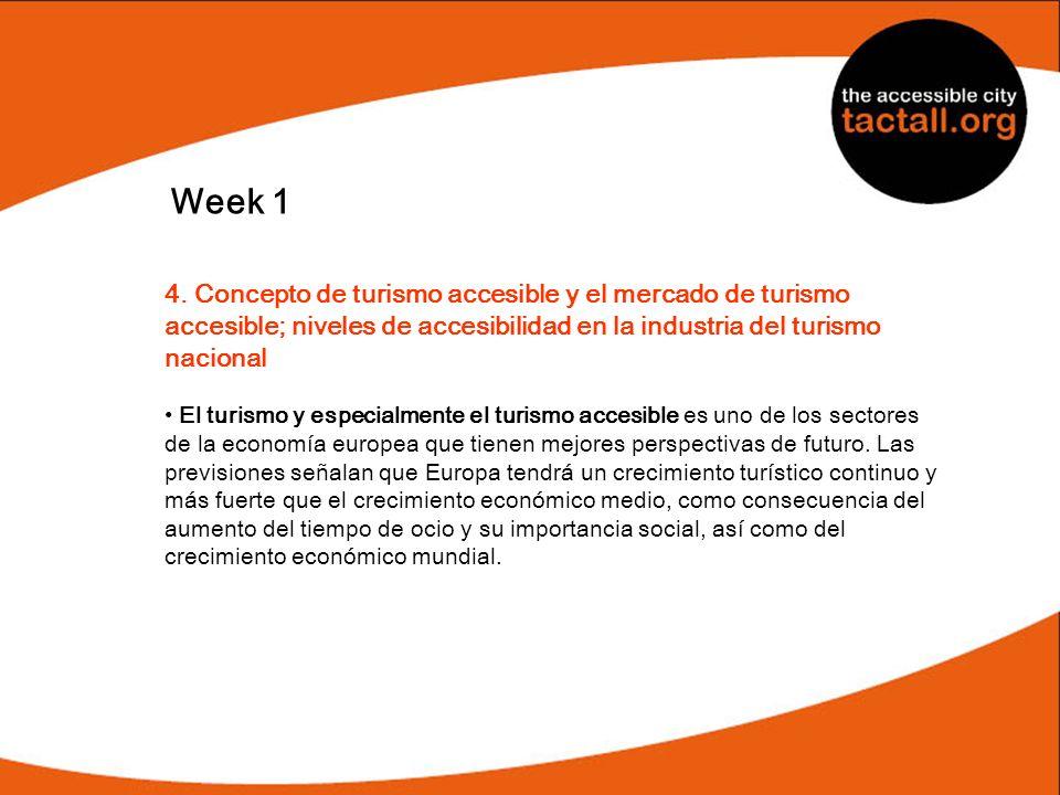 Week 1 4. Concepto de turismo accesible y el mercado de turismo accesible; niveles de accesibilidad en la industria del turismo nacional.