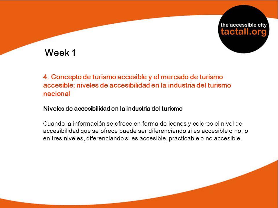Week 14. Concepto de turismo accesible y el mercado de turismo accesible; niveles de accesibilidad en la industria del turismo nacional.