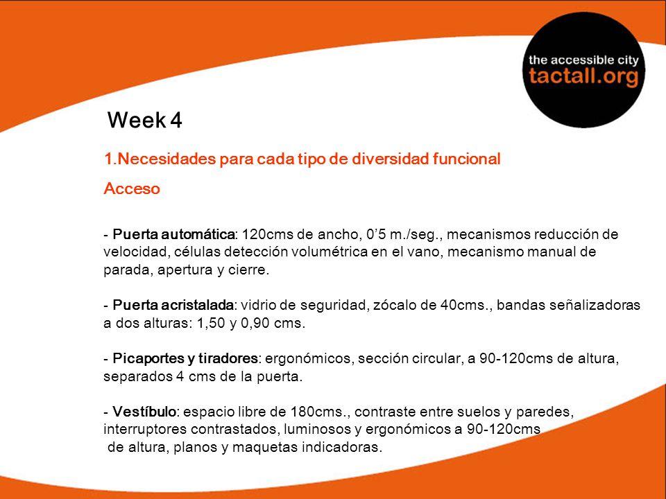 Week 4 Necesidades para cada tipo de diversidad funcional Acceso