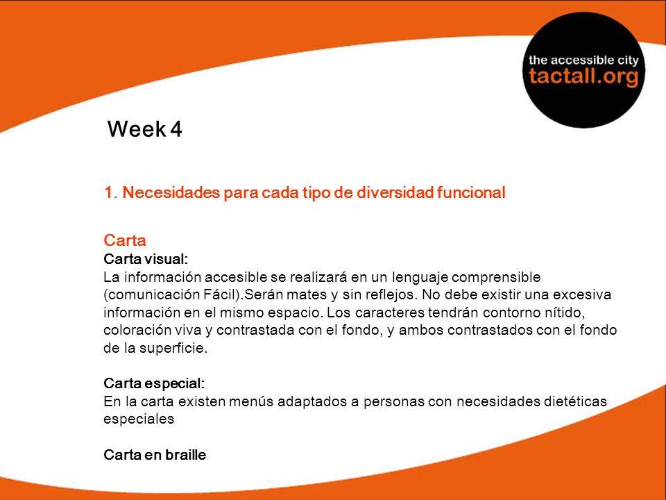 Week 4 1. Necesidades para cada tipo de diversidad funcional Carta