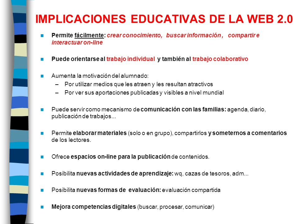 IMPLICACIONES EDUCATIVAS DE LA WEB 2.0