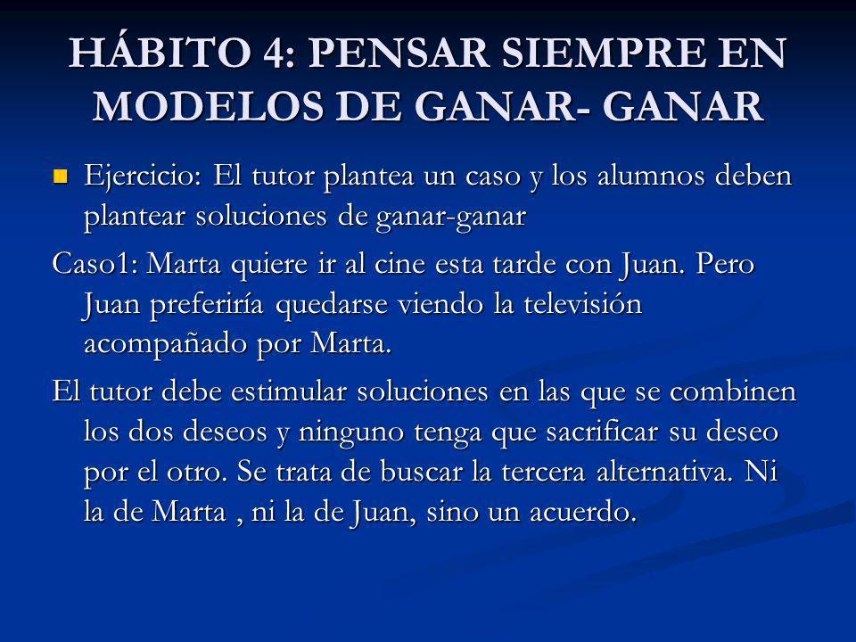 HÁBITO 4: PENSAR SIEMPRE EN MODELOS DE GANAR- GANAR