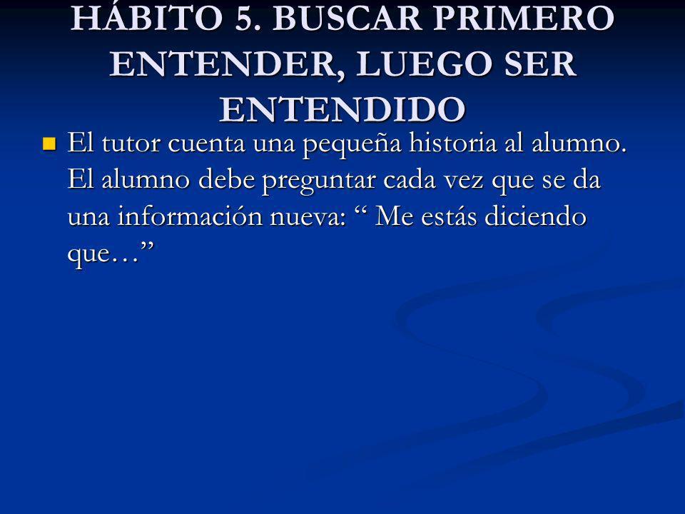 HÁBITO 5. BUSCAR PRIMERO ENTENDER, LUEGO SER ENTENDIDO