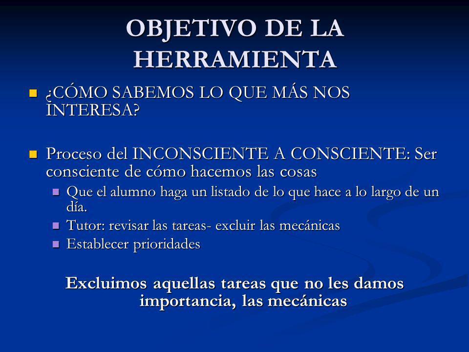 OBJETIVO DE LA HERRAMIENTA