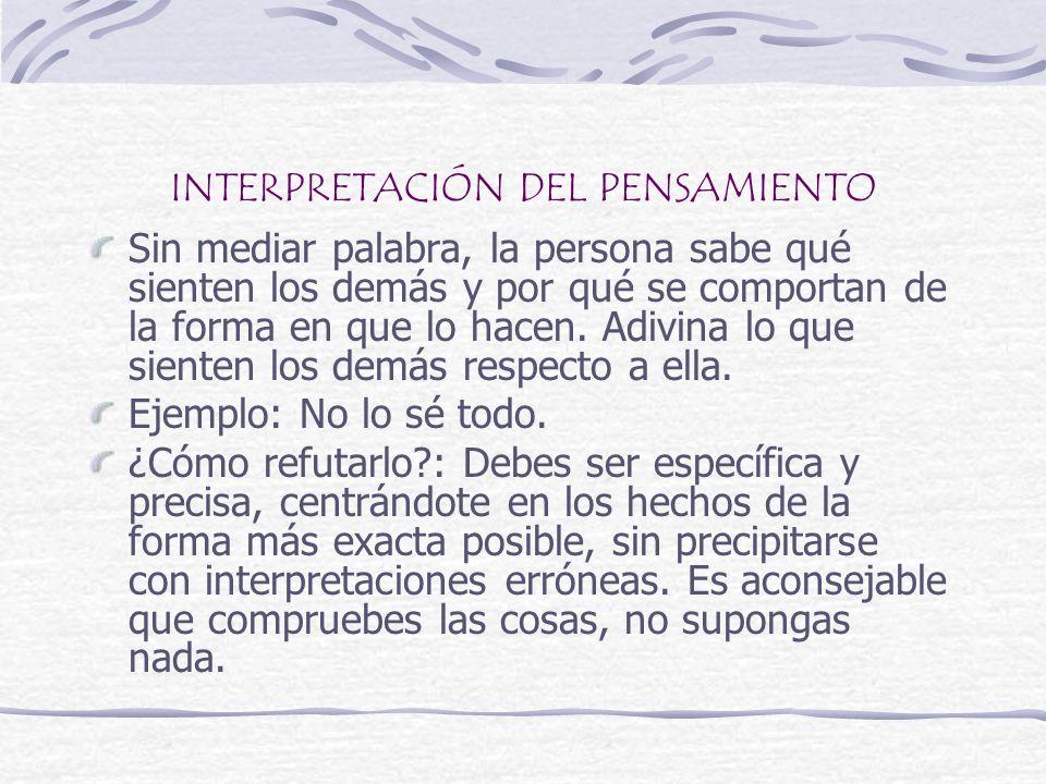 INTERPRETACIÓN DEL PENSAMIENTO