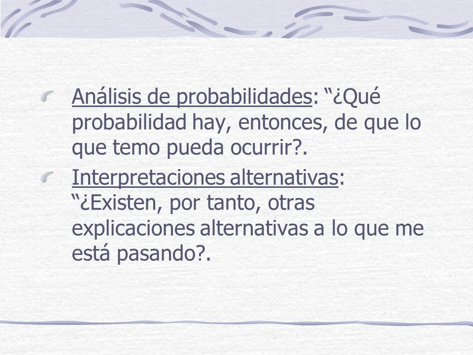 Análisis de probabilidades: ¿Qué probabilidad hay, entonces, de que lo que temo pueda ocurrir .