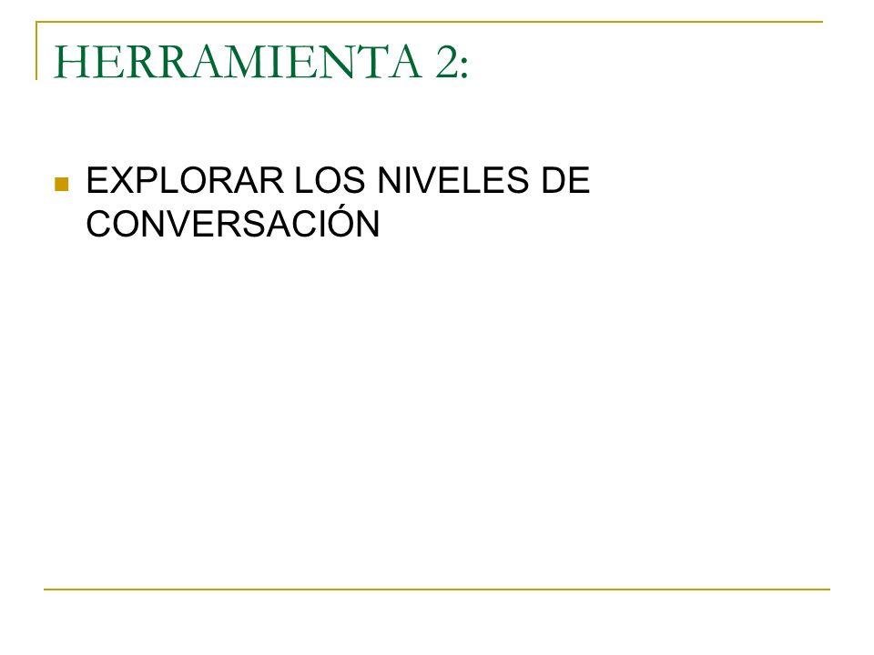 HERRAMIENTA 2: EXPLORAR LOS NIVELES DE CONVERSACIÓN
