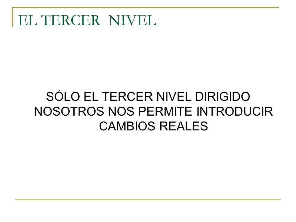 EL TERCER NIVEL SÓLO EL TERCER NIVEL DIRIGIDO NOSOTROS NOS PERMITE INTRODUCIR CAMBIOS REALES