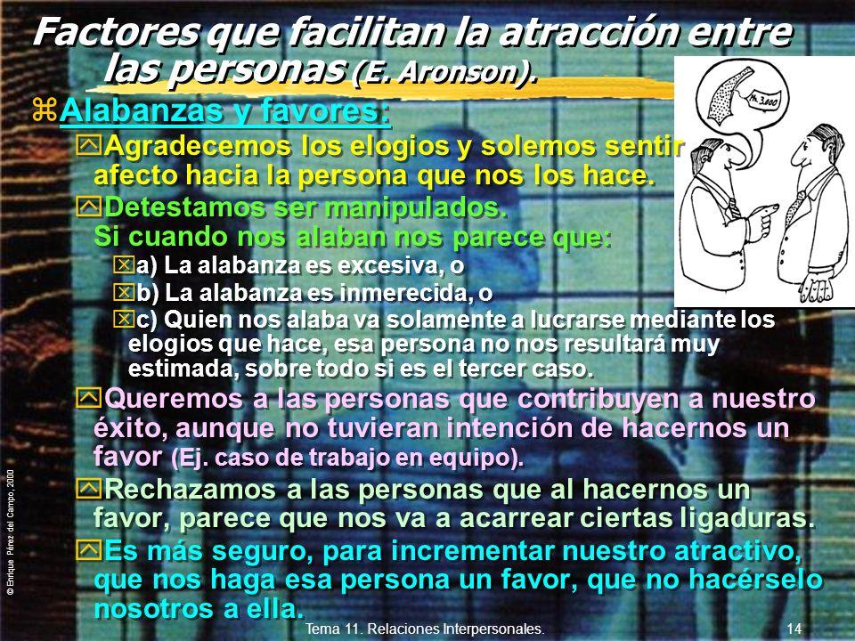 Factores que facilitan la atracción entre las personas (E. Aronson).
