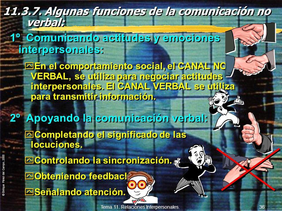 11.3.7. Algunas funciones de la comunicación no verbal: