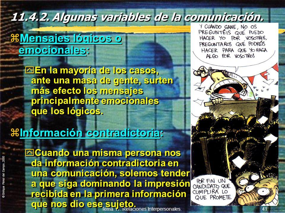 11.4.2. Algunas variables de la comunicación.