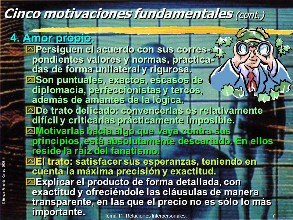 Cinco motivaciones fundamentales (cont.)