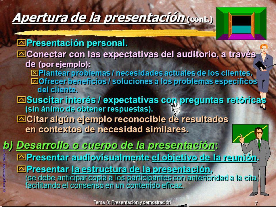 Apertura de la presentación (cont.)