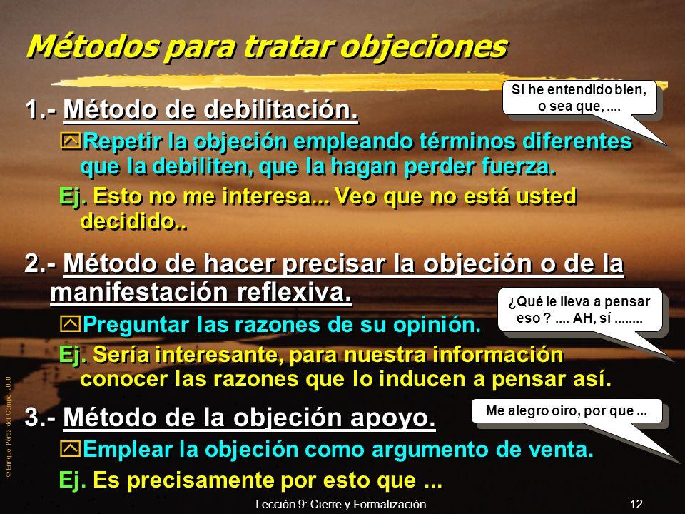 Métodos para tratar objeciones