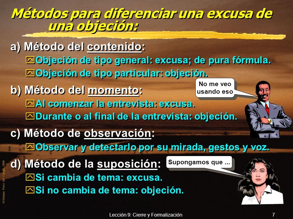 Métodos para diferenciar una excusa de una objeción: