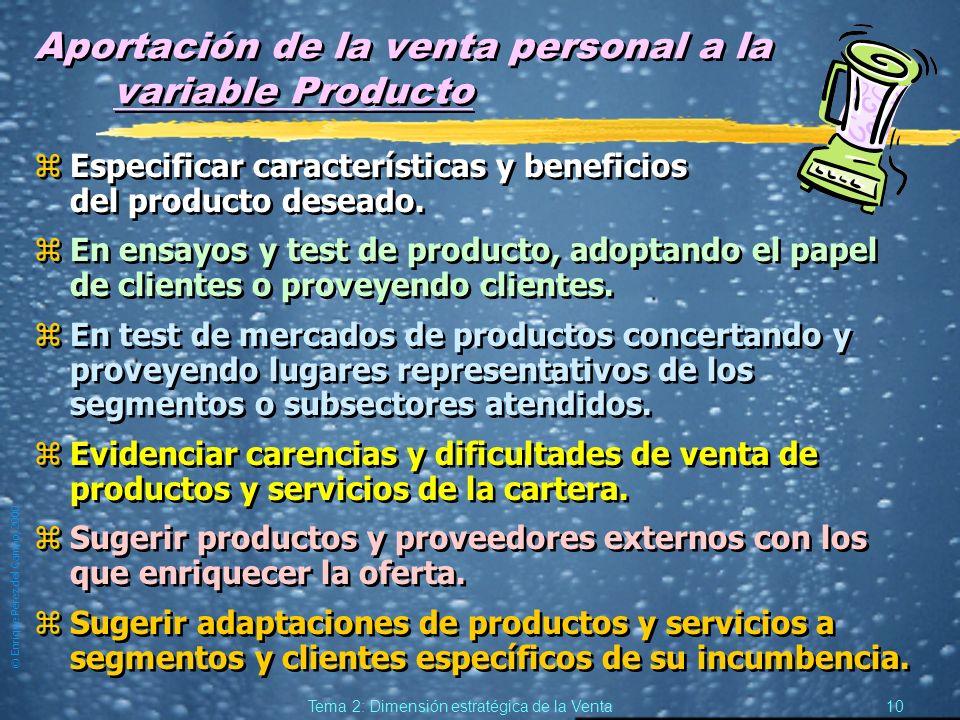 Aportación de la venta personal a la variable Producto