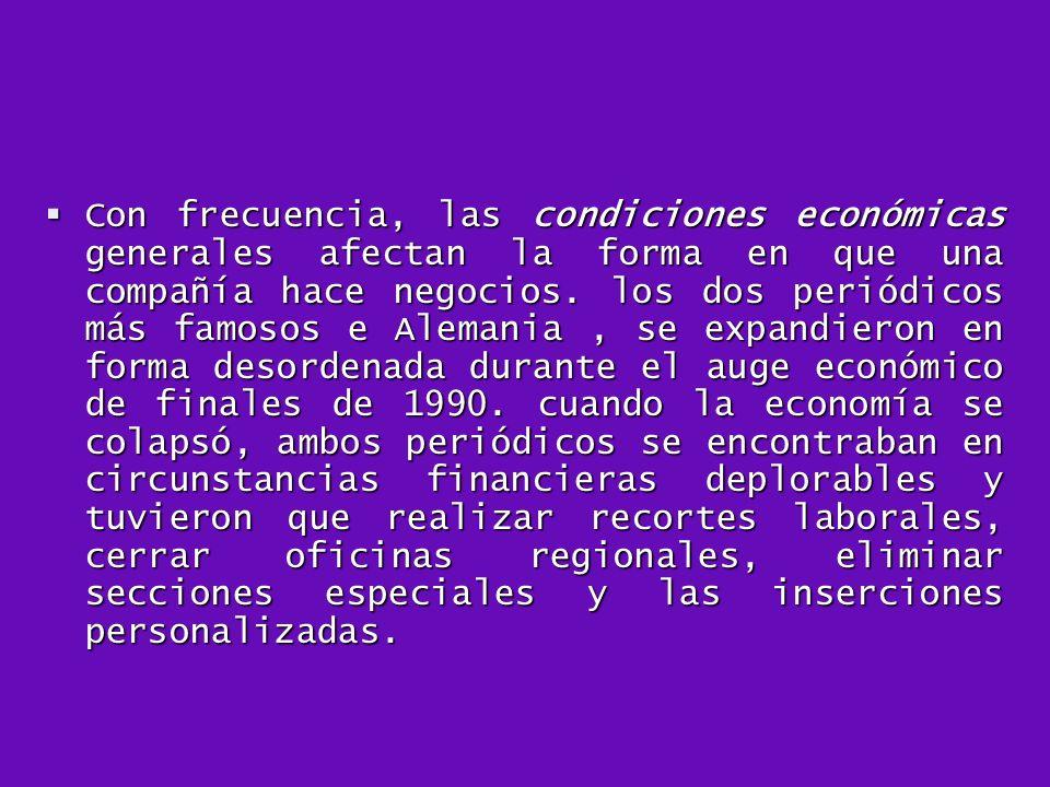 Con frecuencia, las condiciones económicas generales afectan la forma en que una compañía hace negocios.