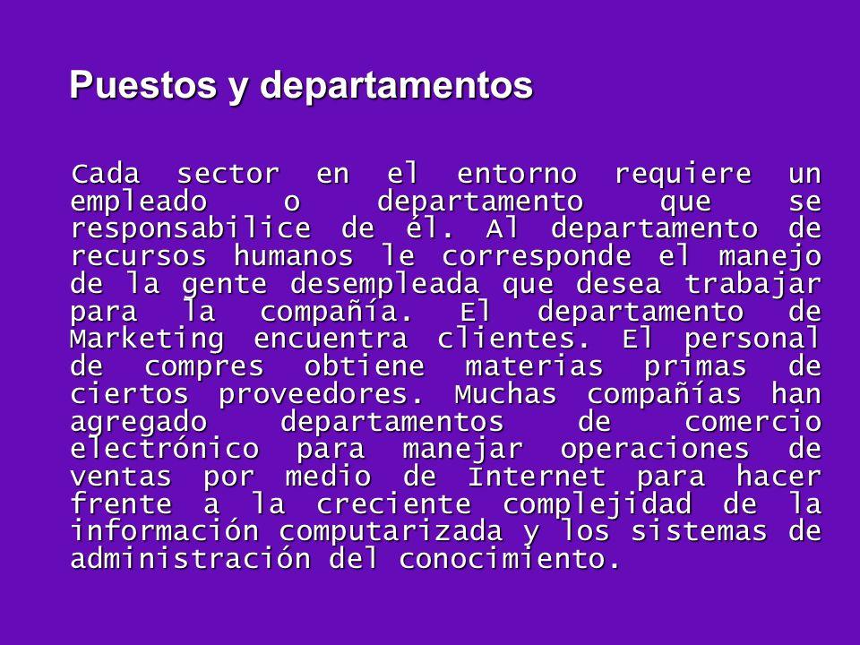 Puestos y departamentos