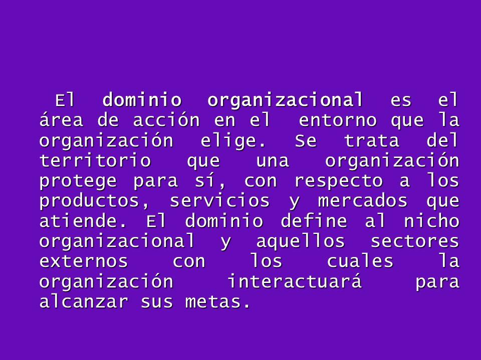 El dominio organizacional es el área de acción en el entorno que la organización elige.