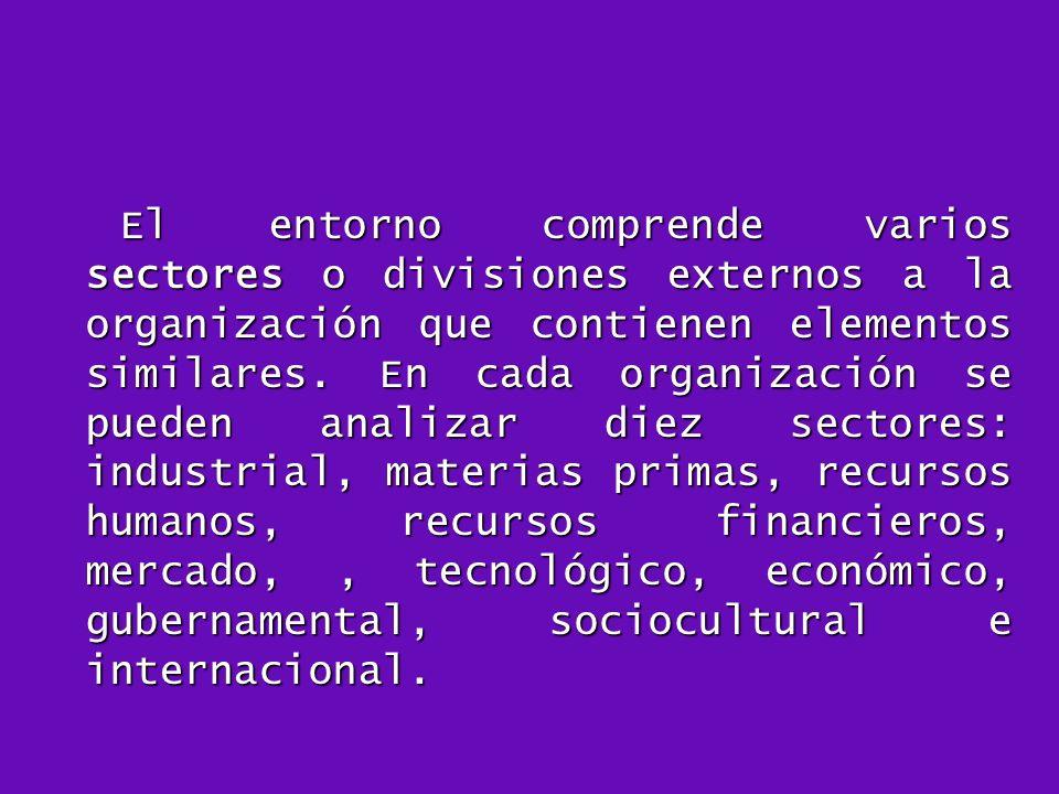El entorno comprende varios sectores o divisiones externos a la organización que contienen elementos similares.