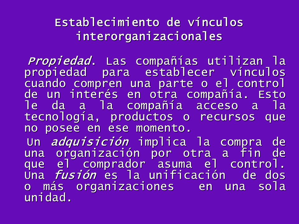 Establecimiento de vínculos interorganizacionales