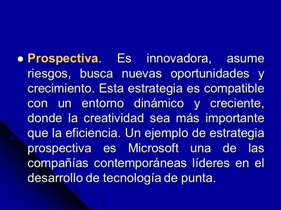 Prospectiva.Es innovadora, asume riesgos, busca nuevas oportunidades y crecimiento.
