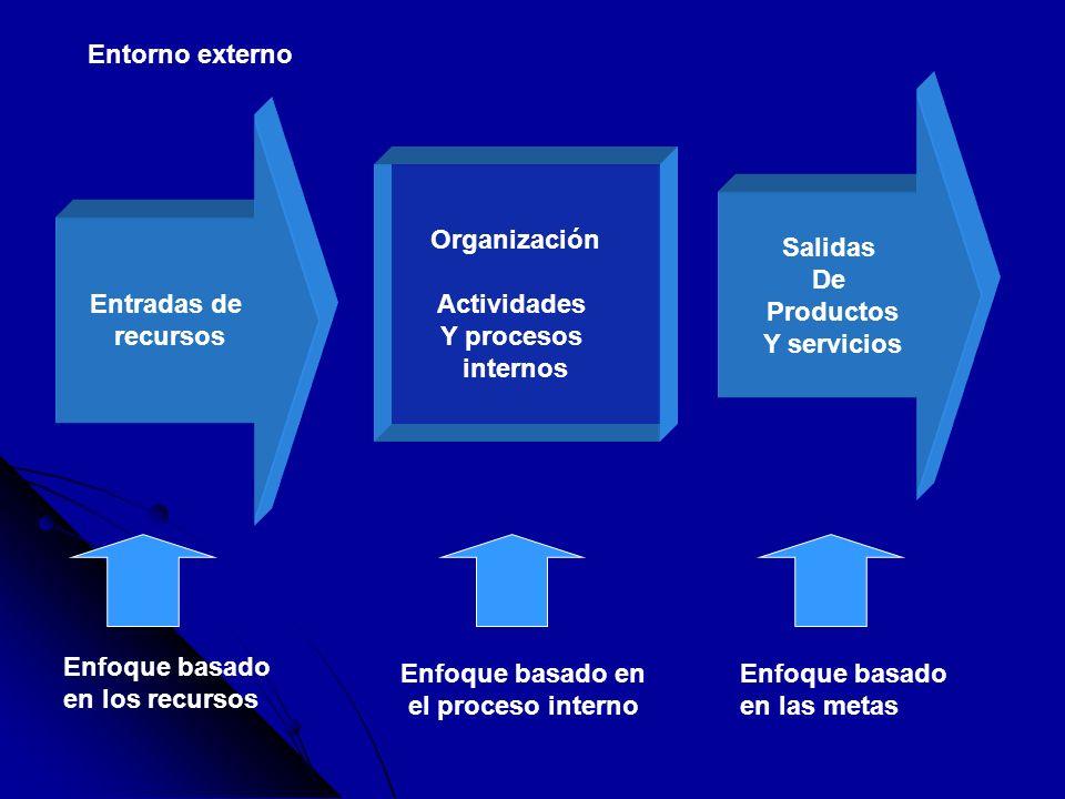 Entorno externoSalidas. De. Productos. Y servicios. Entradas de. recursos. Organización. Actividades.