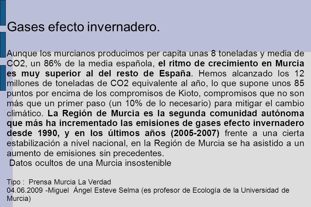 Gases efecto invernadero.