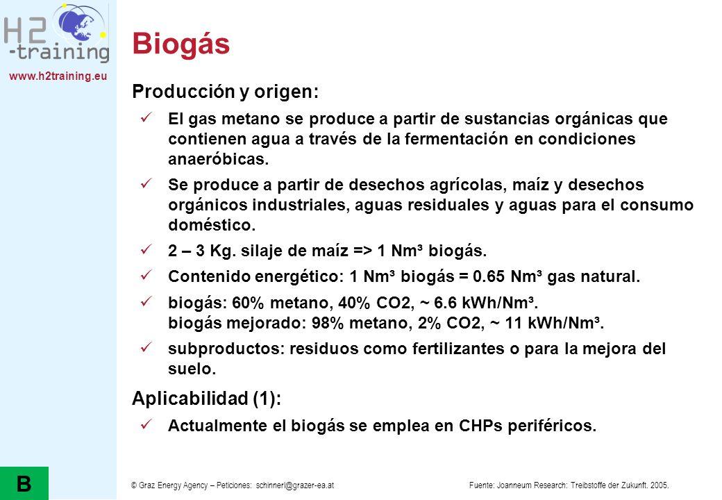 Biogás B Producción y origen: Aplicabilidad (1):