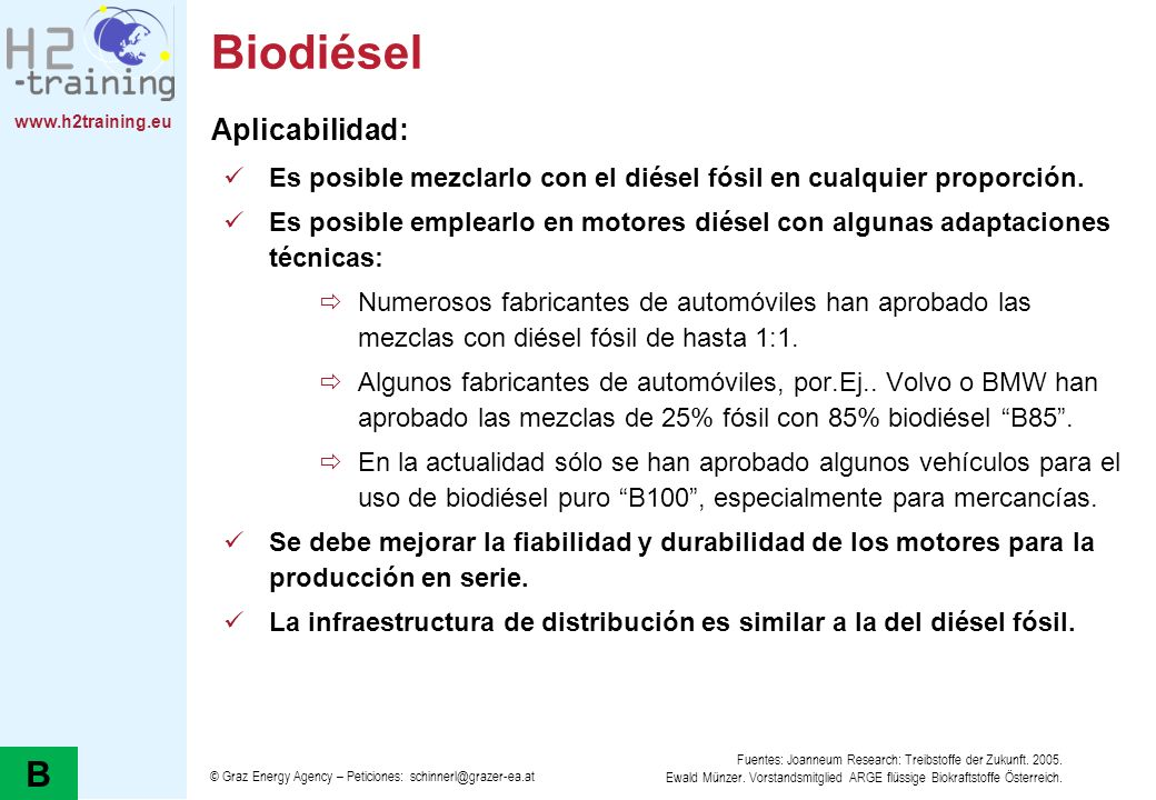 Biodiésel B Aplicabilidad: