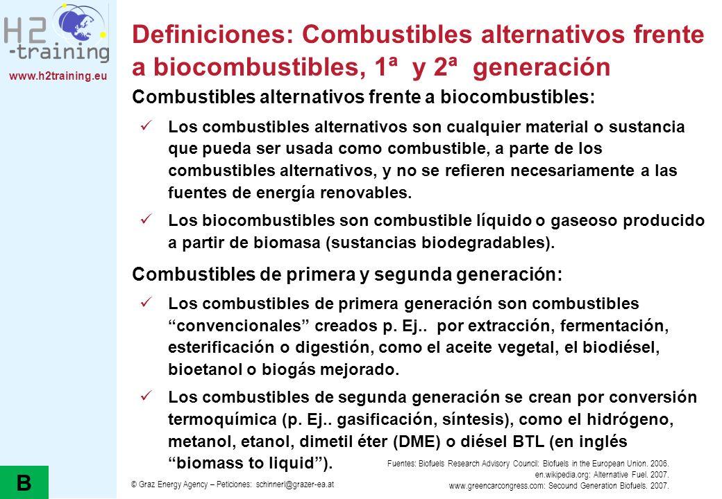 Definiciones: Combustibles alternativos frente a biocombustibles, 1ª y 2ª generación